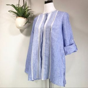 Elie Tahari Buffy Lace Inset Linen Blouse Top